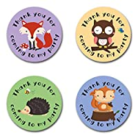 "40mm Woodland Animals ""Thank You For Coming To My Party"" Round Stickers for Party Bags & Sweet Cones - Owls, Squirrel, Fox & Hedgehog (48 x Stickers)"
