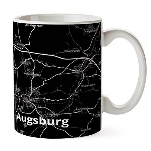 Mr. & Mrs. Panda Tasse Stadt Augsburg Stadt Black - Stadt Dorf Karte Landkarte Map Stadtplan Tasse, Tassen, Becher, Kaffeetasse, Kaffee, Geschenkidee, Geschenk, Tee, Teetasse, Tee, Cup, Schenken, Frühstück, Fan, Fanartikel, Souvenir, Andenken, Fanclub, Stadt, Mitbringsel Dorf-becher