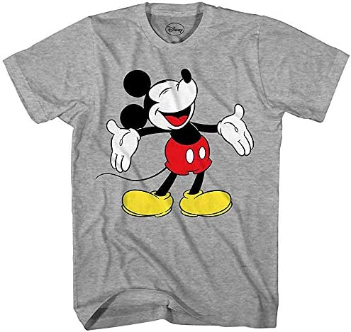 Disney Mickey Mouse Laughing Disneyland World Funny Humor Pun Mens Mens Mens Adult Graphic Tee T-Shirt (Heather grigio, Large) | Prima qualità