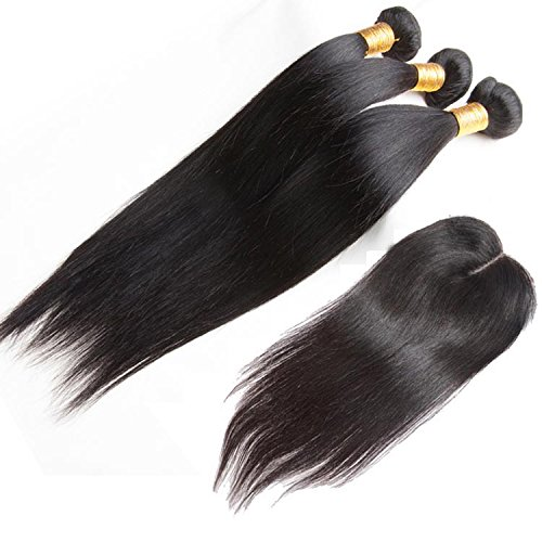 ohlees® 7A Weave Virgin Human Hair Femmes de l'Inde véritable droit extensions de cheveux brésiliens vierges 100% humains Remy Tissage naturel Premium 3 Bundle trame + 1 pcs Lace Closure de dentelle fermeture frontal 4*4