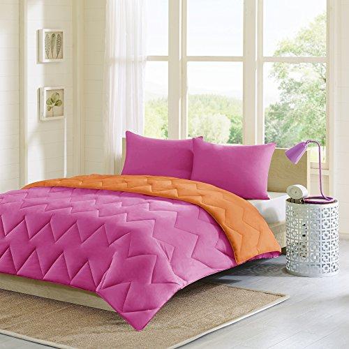 Intelligent Design Trixie Reversible Daunen Alternative Tröster Mini Set X-Large, Pink/Orange, Twin/Twin XL -