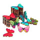 Souarts Gemischte Holzknopf Schmetterling zwei Löcher Holz Knöpfe Kleidung Deko DIY Basteln Nähen Hase Holz Knoepfe Buttons 50St.