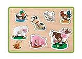 Janod - Fleurus, puzzle musical de madera, 7 piezas animales de la granja (J07049)