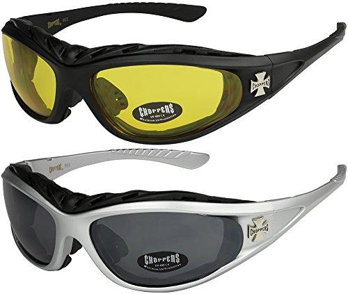 X-CRUZE 2er Pack Choppers 911 Sonnenbrillen Motorradbrille Sportbrille Radbrille - 1x Modell 03 (schwarz/gelb getönt) und 1x Modell 04 (silber/schwarz getönt) - Modell 03 + 04 -