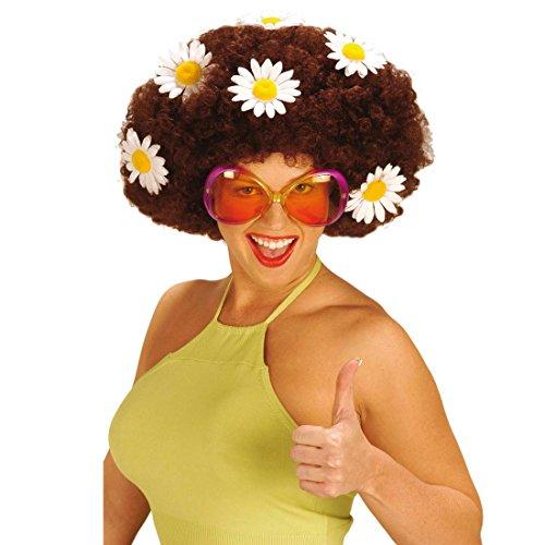 NET TOYS Sugar Babe Hippie Partybrille Damen Brille rot-orange Damenbrille Party Fasching Karneval