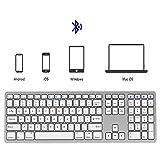 Jackeylove Tastiera Bluetooth, Multi-Dispositivo Tastiera Portatile Standard 108-chiave Multi-Pair Tre-Chiave Area Wireless Forbici Piedi Adatto per Desktop/Laptop/Smartphone/Tablet