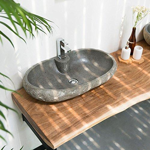 wohnfreuden Naturstein Waschbecken 60 cm OVAL gerader Rückwand
