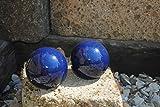 Kunert-Keramik Kugel,Rosenkugel,Gartenkugel,in Tollem Blau,frostfest;2er Set;(12cm)