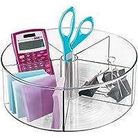 mDesign - Bandeja giratoria organizadora de los suministros de oficina/del escritorio, con divisores; guarda tijeras, lapiceras, anotadores autoadhesivos - Color