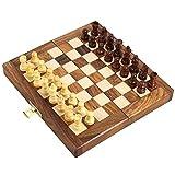 Handarbeit aus Holz klappbar magnetische Schach Set - Holz Reise Spiele - 17,7 x 8,8-Cm - große Geschenke für Kinder und Erwachsene