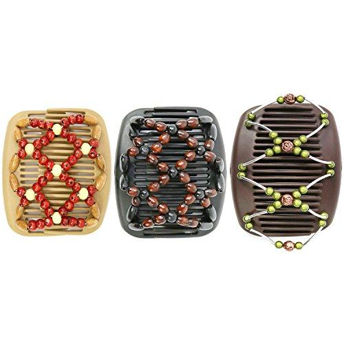 com-four® African Butterfly - Afrikanische Haarklammer Haarspange Haarkamm (3er Set- Schwarz/Beige/Braun) -