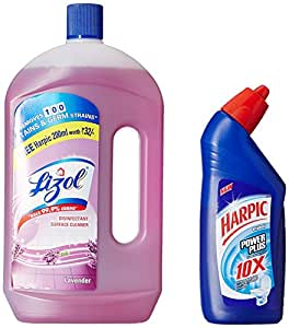Lizol Disinfectant Floor Cleaner Lavender- 975 ml with Free Harpic Power Plus Toilet Cleaner- 200 ml (Any Variant)