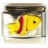 The Olivia Collection, charm smaltato in stile italiano, in acciaio inox  e disegno di un pesce