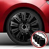 Autoteppich Stylers Bundle 16 Zoll Radkappen/Radzierblenden Nr.006 (Farbe Schwarz), passend für Fast alle Fahrzeugtypen (universal)