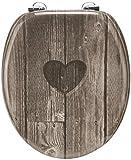 Cornat WC-Sitz Dekor HERZ / Toilettensitz / Toilettendeckel / Klodeckel / WC-Deckel / Holzkern (MDF) / KSD811