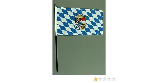 ohne St/änderfu/ß Buddel-Bini Kleine Tischflagge Hessen 15x10 cm mit 30 cm Mast aus PVC-Rohr