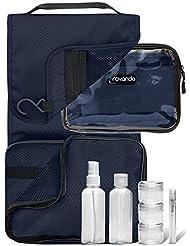 Travando ® 3in1 Kulturbeutel zum Aufhängen + Durchsichtige Kulturtasche + 7 Flüssigkeiten-Behälter   Transparente Waschtasche   Waschbeutel   Toilettentasche   Toiletttasche   Reise Set Herren Damen