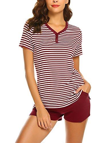 MAXMODA Damen Schlafanzug Streifen Top und Short Sleepwear Pyjama mit 3 Buttons Decoration - Streifen-pyjama-set