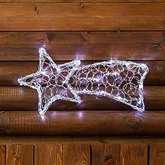 Idea Regalo - XMASKING Stella cometa a Batteria Acrylic Ice, 40 x 20 cm, 20 LED Bianco Freddo, Cavo Trasparente, Stella di Natale, Decorazioni Natalizie, Stella cometa Luminosa