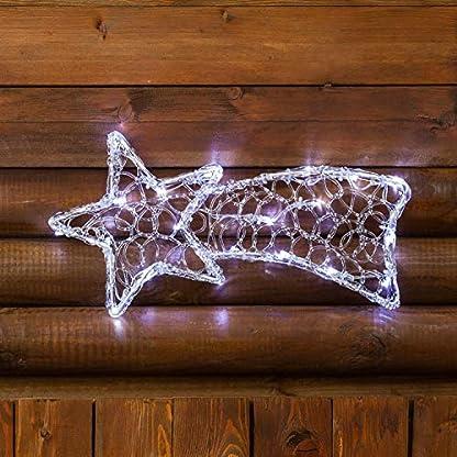 Estrella fugaz a pilas, en acrílico efecto hielo, 40 x 20 cm, 20 LED luz fría, cableado transparente, estrella de Navidad, decoración navideña, estrella fugaz luminosa