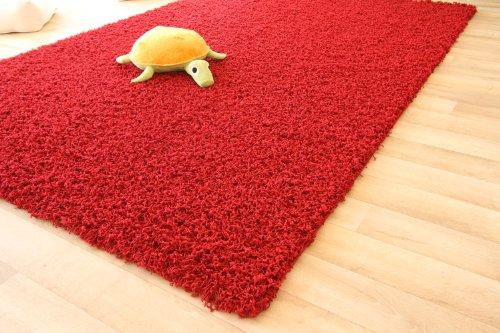 Shaggy Hochflor Teppich Funny Langflor Teppich in rot mit Öko-Tex Siegel, Größe: 80x150 cm -