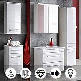 Lomadox Bad Möbel Komplett Set Weiß Hochglanz ● 6-teilig Inklusive 60cm Waschbecken mit Unterschrank, Hochschrank, Spiegelschrank, Hängeschrank, Unterschrank ● mit LED-Beleuchtung & Softclose