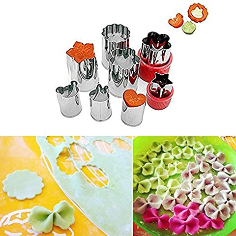 niceEshop(TM) Vegetable Cutter Shapes Set,Kids Mini Cookie Cutters Fruit Mold Presses Stamps Set(Including 4 Flowers and 4