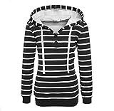 LUBITY Femme Stripe Décontractée à Manches Longues Pull Sweat-shirt Pullover Tops Manteau (Noir, 36)...