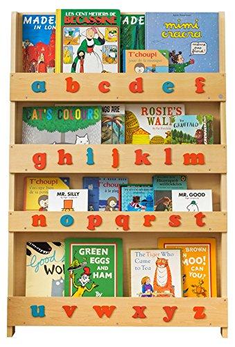 Tidy Books - Bücherregal Kinder   Weiß buntes Alphabet   Wandregal Kinderzimmer mit Holzbuchstaben   Montessori Material   115 x 77 x 7 cm   Handgefertigt   Nachhaltig   Das Original seit 2004