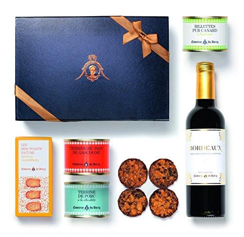 Geschenkkorb Französische Pasteten und Terrinen mit Mini-Toasts, Bordeaux Rotwein - 375ml - und Schokoladen aus Frankreich