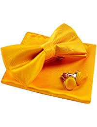 Solid Pre-tied Bow Tie Cufflinks Hanky Set for Men Neck Wear, Gold