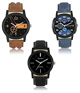 Opendeal Combo Pack of 3 Lorem Stylish Dummy Chronograph Analogue Multicolor Dial Men & Boys Watch- Od-W222
