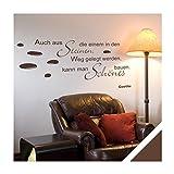 Exklusivpro Wandtattoo Zitat Spruch Auch aus Steinen die einem in den Weg gelegt werden, kann man schönes bauen. (Goethe) inkl. Rakel (zit45 braun) 150 x 59 cm mit Farb- u. Größenauswahl