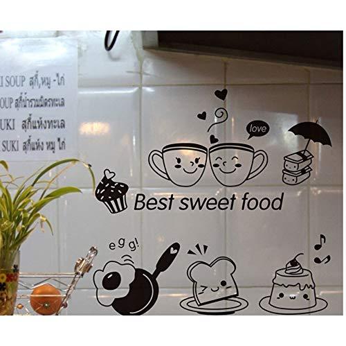 Zxfcczxf Cartoon Best Sweet Food Wand Kunst Wandbild Dekor Küche Tile Cabinet Kühlschrank Aufkleber Poster Grafiken Kaffee Brot Tapete
