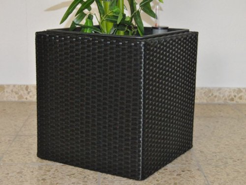 Pflanzkübel Blumenkübel Blumentopf Polyrattan Quadrat LxBxH 30x30x30cm schwarz.