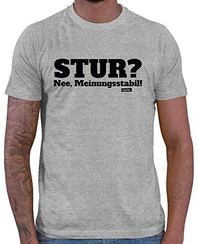 HARIZ  Herren T-Shirt Stur Nee Meinungsstabil Lustiger Spruch Plus Geschenkkarte Grau Meliert L