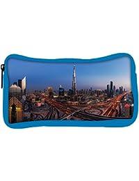 Snoogg Eco Friendly Canvas Dubai City Designer Student Pen Pencil Case Coin Purse Pouch Cosmetic Makeup Bag