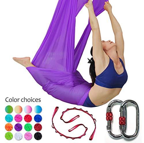 E-Bestar Aerial Yoga Hammock Set Anti gravità Yoga Swing Elastico Yoga Amaca Senza Cuciture Aerial Silks (Dark Purple)