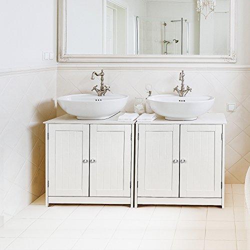 Homfa armadietto sotto lavabo in legno, mobile lavabo da bagno bianco 60 × 30 × 60 cm