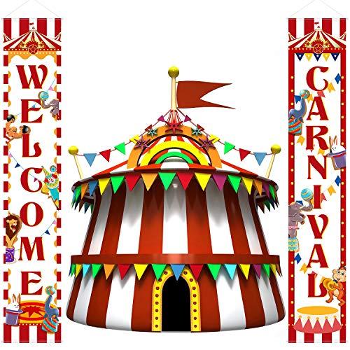 Veranda Zeichen Karneval Zirkus Geburtstag Party Welcome Banner Dekoration Set Zirkus Karneval Banner Karneval Party Liefern Dekor Haus Dekorationen ()