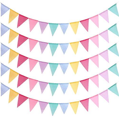 e Bunt Wimpel Banner Outdoor Dekoration 12 Mehrfarbige Wimpel Girlande für Party Hochzeit Weihnachten Geburtstagsfeier, 4M lang 5 Stück ()