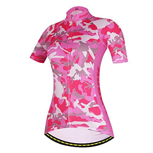 2017wosaw Damen Radtrikot Kühl und bequem Cycle Racing Kleidung tragen kurze Ärmel skinsuits Shirt grün Camo D409 - Tragen Sie Camo Shorts