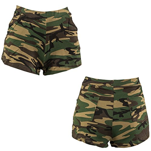 Camo Hot Shorts (Camouflage Hot Pants Shorts tarnfarben L/XL 42 – 48 Panty Army Look Camo Hotpants Kurze Hose Tarnmuster Party Outfit Military Style)