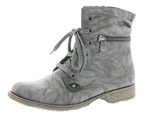 Rieker Damen Schnürstiefelette 708F9,Frauen Stiefel,Boots,Halbstiefel,Schnürboots,Bootie,flach,Blockabsatz 2.7cm,dust/schwarz, EU 37 - Flache Booties