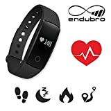 endubro ID107 HR Fitness Armband - fitness tracker - smart bracelet - Smartwatch für Android Smartphone und iPhone, Schrittzähler, Herzfrequenz - Monitor, Push-Message und Anrufer - ID Benachrichtigung (Schwarz)