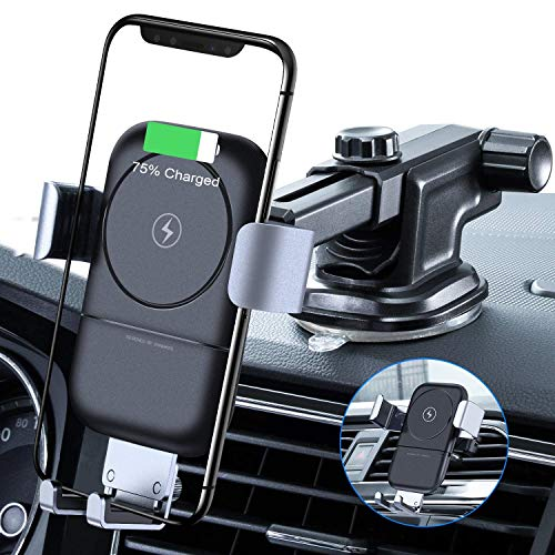 VANMASS Wireless Charger Auto Handyhalterung 10W mit Induktiver Ladestation 2 in 1 Kfz Handy Halterung mit Lüftungs & Saugnapfshalterung für Phone XS/XR/S/8P Samsung S9/S8 und andere Qi Fähige Geräte