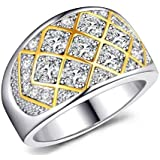 Silver and gold ring with zircon size 6