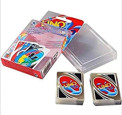 Yun&Luo UNO Jeux de Cartes 108 PCS Étanche H2O UNO PVC Transparent Cristal Clair Carte de Jeu familiale