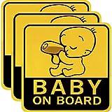 Sumind 3pièces Baby on Board Stickers pour Voiture réfléchissant Autocollants...