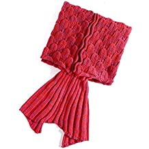 PIXNOR–Manta de cola de sirena cola de sirena punto de dormir para adultos y adolescentes (Rojo)